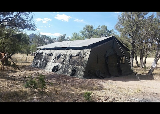 One of the four 20 by 30 foot wall tents the US Forest Service obtained from DLA Disposition Services offers housing for the Youth Conservation Corps at the Coronado National Forest in southern Arizona.
