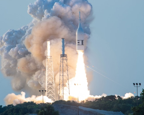 The Ascent Abort-2 test flight launched on July 2, 2019, from Cape Canaveral Air Force Station, Fla. The mission was to test the launch abort system aboard NASA's Orion capsule so astronauts will be kept safe if an anomaly occurs during the return to Earth from space. (U.S. Air Force photo by James Rainier)