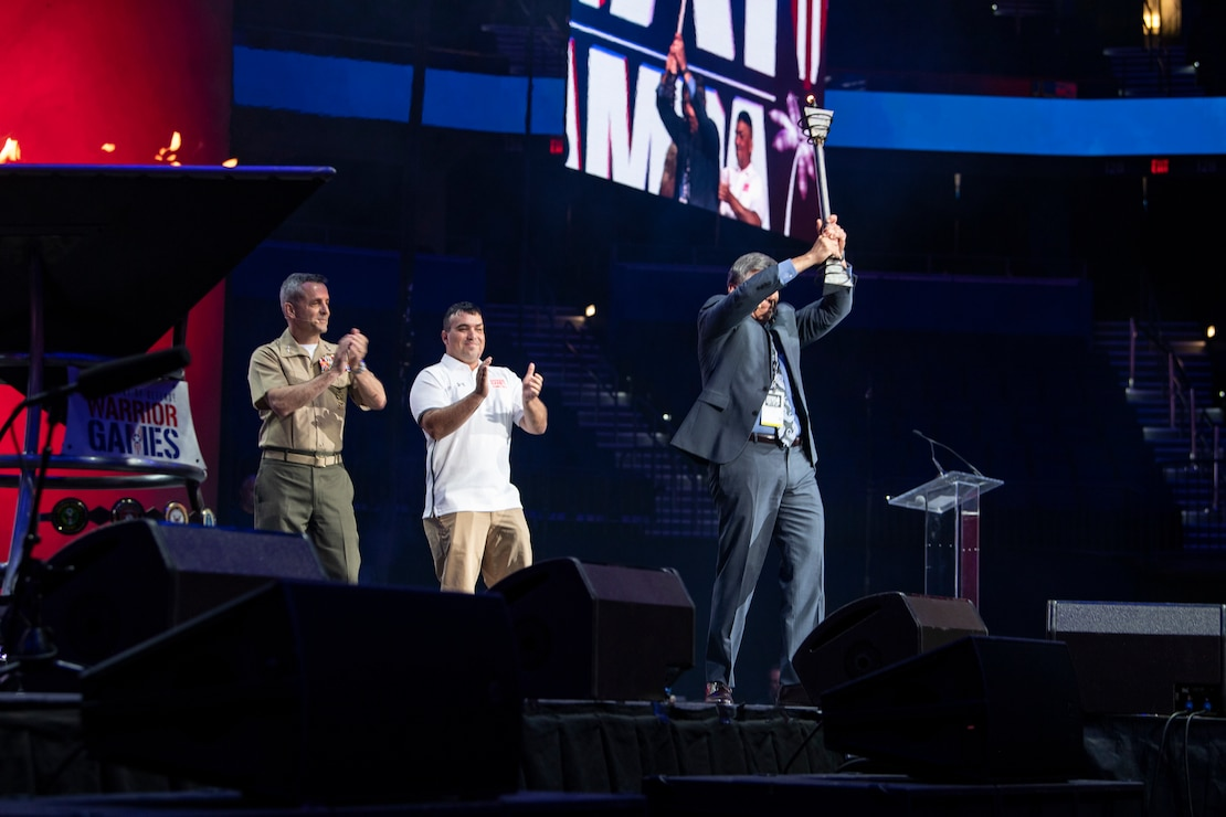 The 2019 DoD Warrior Games ends with the passing of the torch at Amalie Arena, Tampa, Florida, June 30, 2019. Next year's games will be hosted by the U.S. Marine Corps and held in San Antonio, Texas. The 2019 Warrior Games consist of 13 Paralympic-style sports, and more than 300 athletes representing the U.S. Marine Corps, Army, Navy, Air Force, Special Operations Command, and five international teams.
