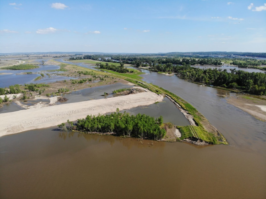 Aerial view of breach along Levee 611-614 near Council Bluffs, Iowa July 1, 2019.