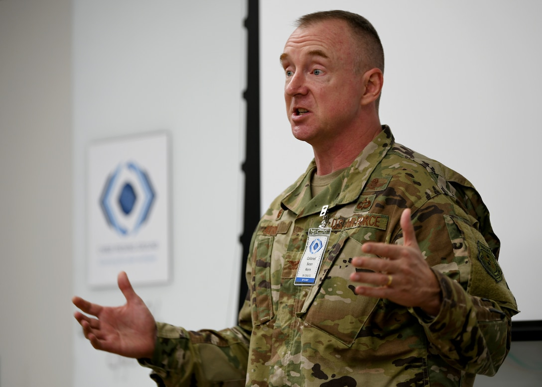 Col. Sean Kern, 26th Cyberspace Operations Group commander, provides opening remarks at the first-ever, 24th AF-hosted Enterprise Data Loss Prevention Solution Summit in San Antonio, Texas, on June 26, 2019. Throughout the event Air Force cyber leaders discussed solutions to meet EDLP requirements and overcome challenges, all aimed at presenting a more disciplined, ready and lethal cyber force. (U.S. Air Force photo by Tech. Sgt. R.J. Biermann)