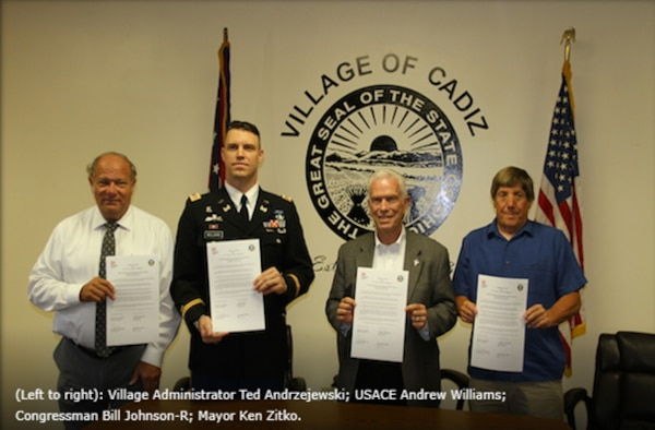 Captain Andrew Williams represented the Huntington District at the Partnership Agreement signing for waste water system improvements for the Village of Cadiz, Ohio.