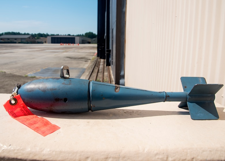 The BDU-33 is a 25-pound training munition used to simulate the M1a-82 500-pound bomb. It is approximately 22 and a half inches long and is blue in color. Although the training munition is inert, it is equipped with a small pyrotechnic charge and should not be handled. (U.S. Air Force photo by Airman 1st Class Eugene Oliver)