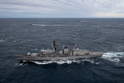 Chilean Navy frigate CNS Almirante Condell at sea.