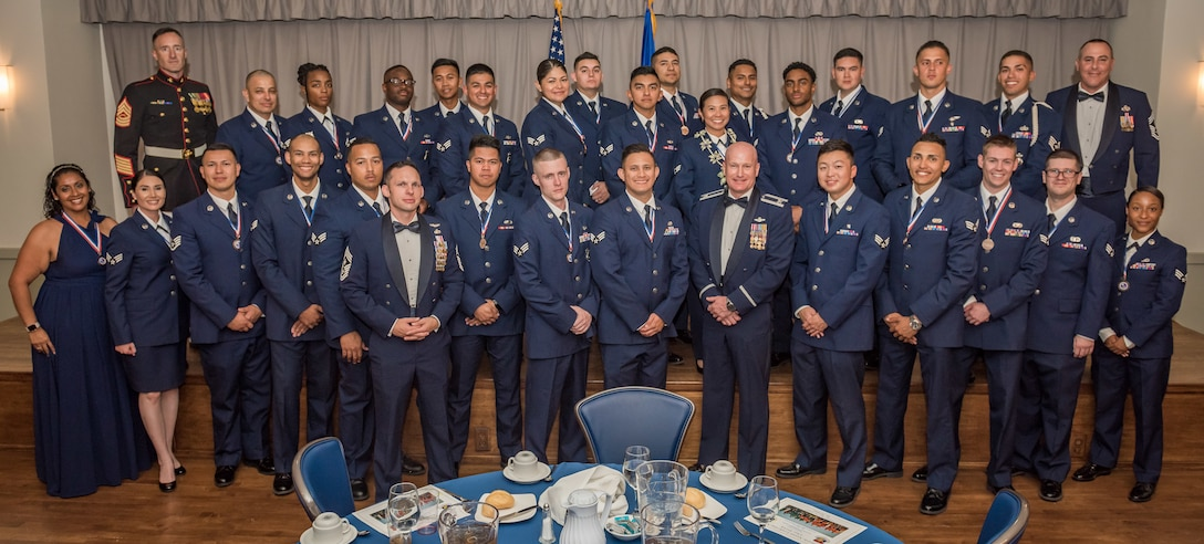 Airman Leadership School Class 19E graduates at Edwards Air Force Base, California, June 27. (U.S. Air Force photo by Matthew Williams)