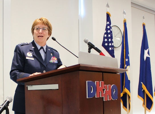 U.S. Air Force Surgeon General, Lt. Gen. Dorothy Hogg, speaks at the official activation of Air Force Medical Readiness Agency, at Defense Health Headquarters, Falls Church, Virginia, June 28, 2019.