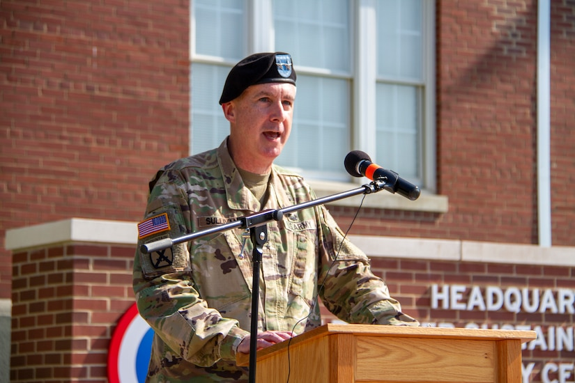 Maj. Gen. John P. Sullivan, commanding general, 1st Theater Sustainment Command (TSC), addresses the audience during his speech at the 1st TSC change of command ceremony held July 2, 2019 outside Fowler Hall at Fort Knox, Ky.