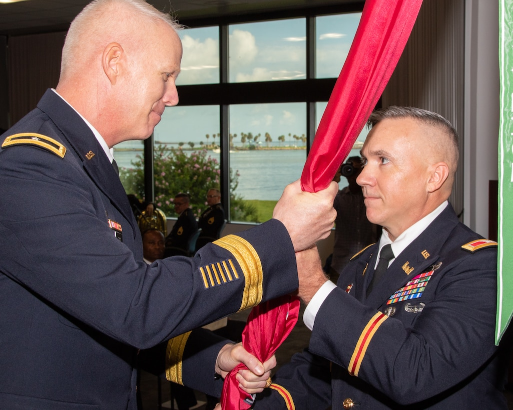GALVESTON, Texas (July 2, 2019) – Col. Lars Zetterstrom passes the command of the U.S. Army Corps of Engineers Galveston District to Col. Timothy Vail during a change of command ceremony today at the USACE Galveston District's Jadwin Building in Galveston, Texas. USACE Southwestern Division Commander Brig. Gen. Paul Owen presided over the ceremony. The USACE Galveston District was established in 1880 and continues to provide vital public engineering services in peace and war to strengthen our nation's security, energize the economy and reduce risks from disasters