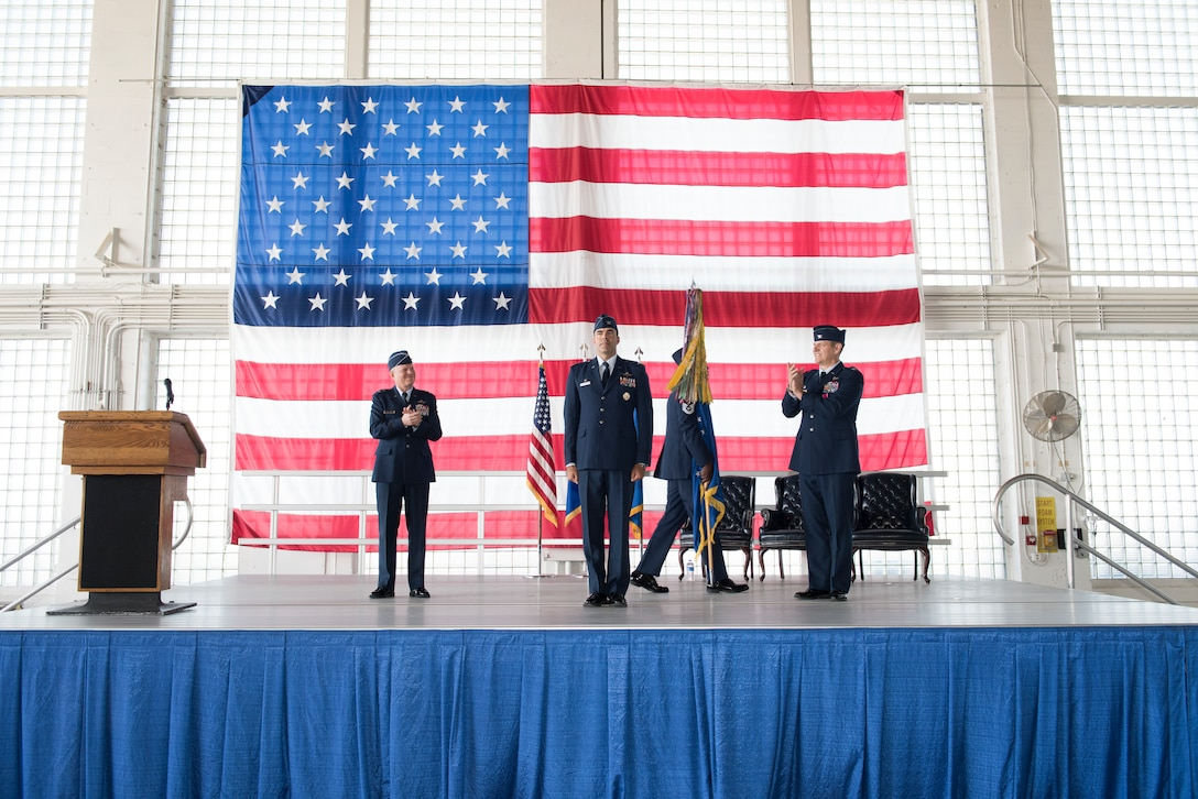 The 366th Fighter Wing congratulates Col. Richard Goodman on taking command of the 366th FW, at Mountain Home Air Force Base, Idaho. During the ceremony Col. Richard Goodman, 366th FW commander, took command of the 366th FW. (U.S. Air Force photo by Senior Airman Tyrell Hall)