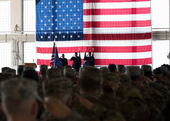 Maj. Gen. Andrew Croft, 12th Air Force (Air Forces Southern) commander, Col. Joe Kunkel, former 366th Fighter Wing commander, and Col. Richard Goodman, 366th FW commander, salute during the 366th FW change of command ceremony July 2, 2019, at Mountain Home Air Base, Idaho. Croft presided over the ceremony where Goodman took command of the 366th FW from Kunkel. (U.S. Air Force photo by Airman First Class Andrew Kobialka)