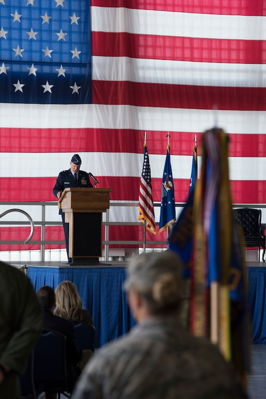 Maj. Gen. Andrew Croft, 12th Air Force (Air Forces Southern) commander, gives opening remarks during the 366th Fighter Wing change of command ceremony July 2, 2019, at Mountain Home Air Base, Idaho. Croft presided over the ceremony where Col. Richard Goodman, 366th Fighter Wing, took command of the 366th FW from Col. Joe Kunkel, former 366th FW commander. (U.S. Air Force photo by Airman First Class Andrew Kobialka)