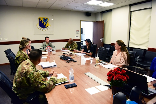 Members of the Patient and Family Partnership Council gather to discuss concerns of patients at Aviano Air Base, Italy, July 1, 2019. The members discuss old and new concerns that are brought to the council's attention. (U.S. Air Force photo by Senior Airman Heidi Goodsell)
