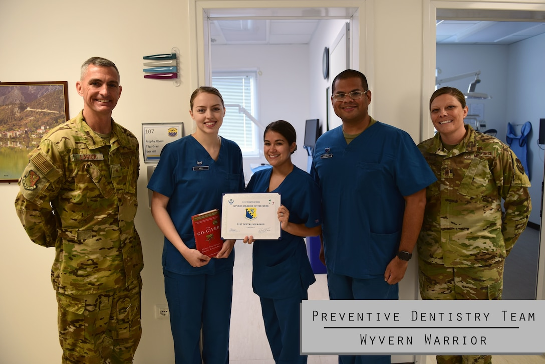 For this week's Wyvern Warrior Team, we honor the 31st Dental Squadron Preventive Dentistry Team. They are Aviano's direct link to dental readiness. The team has been trained as Oral Preventive Assistants (OPAs). Additionally, each year every active duty member is required to have a dental examination and cleaning to be cleared, and it is the primary duty of the Preventive Dentistry Team to clean each member's teeth. They also educate patients on how to maintain proper oral health. The Dentistry Team ensures the 31 FW is dental ready!