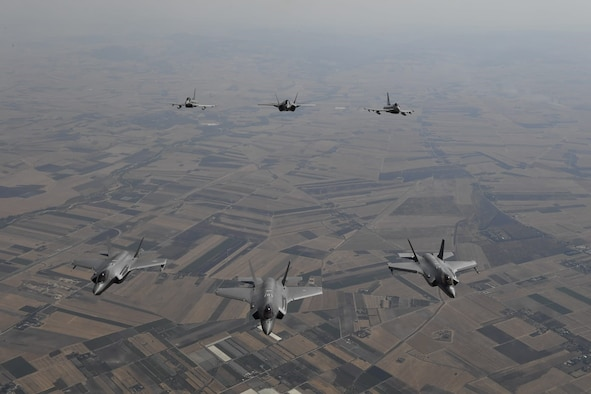 U.S. Air Force F-35A Lightning II aircraft conduct bilateral training with Italian air force F-35s over Italy, July 2, 2019. The U.S. F-35s are deployed to Europe from the 388th Fighter Wing and Reserve 419th FW at Hill Air Force Base, Utah, to conduct training with NATO allies and partners allowing U.S. forces to improve interoperability, readiness, and familiarize aircrews with the European theater. (Courtesy photo)