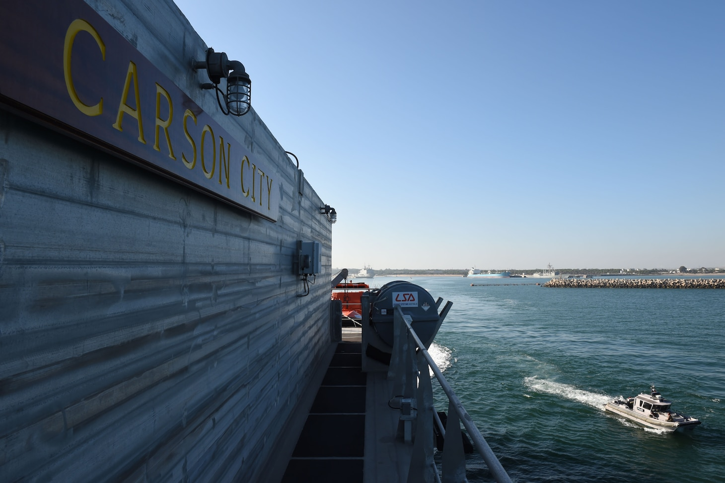 USNS Carson City departs Naval Station Rota, Spain for a 2019 Africa Partnership Station deployment, July 2, 2019.