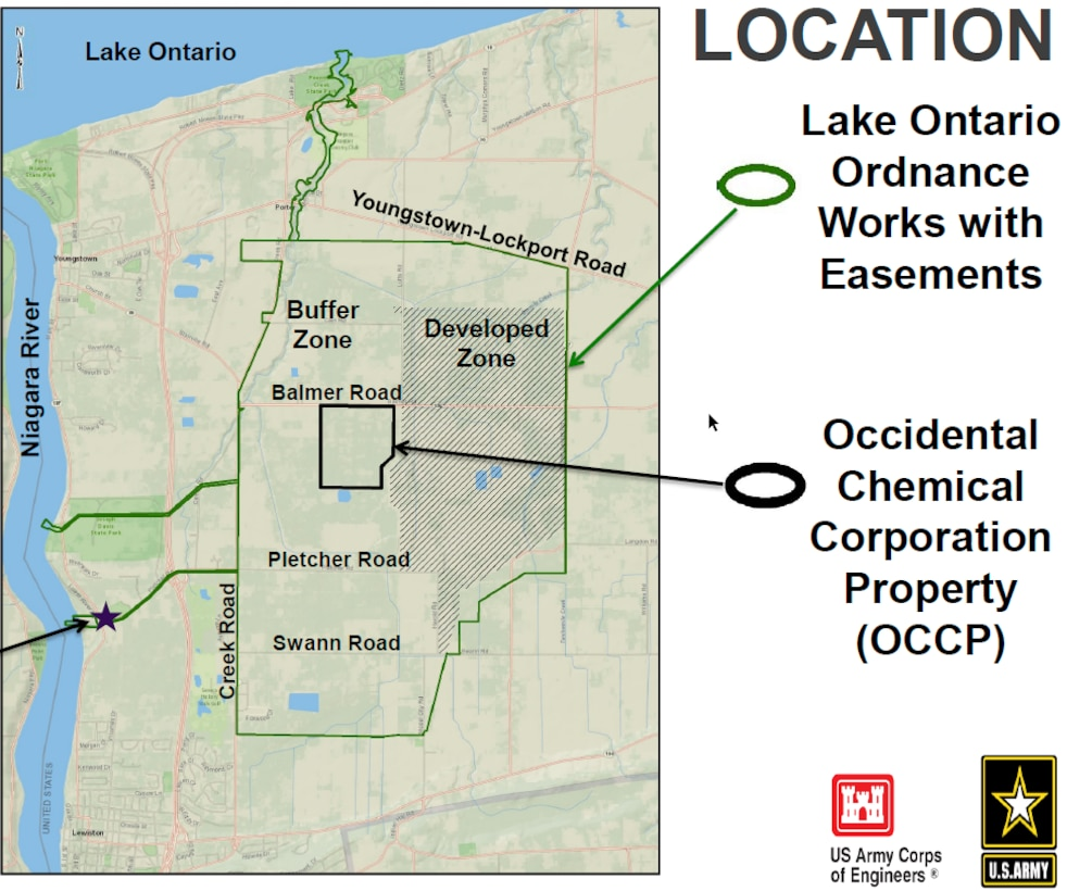 The U.S. Army Corps of Engineers, Buffalo District, is excited to begin the final remedial action to be conducted at the Lake Ontario Ordnance Works (LOOW) Formerly Utilized Defense Site, located in Niagara County, New York on July 8th 2019.  Site work is expected to finish in Late August 2019, with expected construction completion in September 2019.