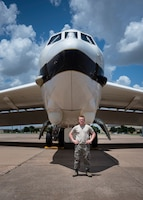 "Airman Brycen Brooks, 362nd Training Squadron B-52 crew chief apprentice course student, poses for a picture in front of a B-52 Stratofortress at Sheppard Air Force Base, Texas, July 2, 2019. Brooks is originally from Warner Robins, Georgia. His favorite part about his job is that he gets to work on an aircraft and even just learning about it is  enjoyable. When asked about his favorite aircraft he said ""B-52 all the way."" (U.S. Air Force photo by Airman 1st Class Pedro Tenorio)"
