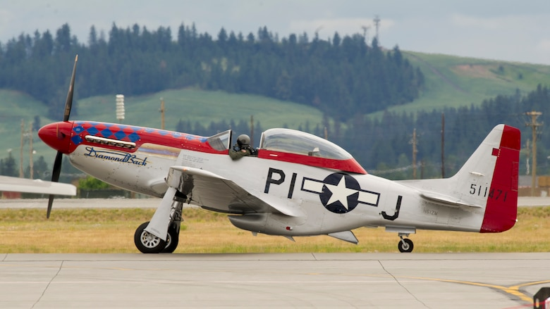 A P-51 Mustang prepares for take-off during the 2019 Skyfest Air Show and Open House opening ceremony at Fairchild Air Force Base, Washington, June 22, 2019. Fairchild opened its gates to the public for a free one-day event to showcase Pacific Northwest airpower and U.S. Air Force capabilities. The airshow included the F-22 Demonstration Team, U.S. Army Golden Knights and 11 other aerial acts. (U.S. Air Force photo by Senior Airman Ryan Lackey)