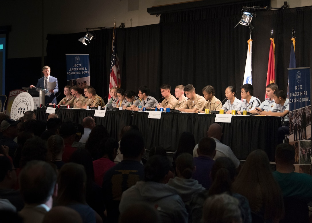 Junior Reserve Officer Training Corps teams representing different military branches compete in the 8th Annual Joint Service Academic Bowl, in Washington, D.C., June 23, 2019. The JROTC teams competed in the Academic Bowl over Math, Science, English and JROTC curriculum. (Air Force Photo by Staff Sgt. Jared Duhon)