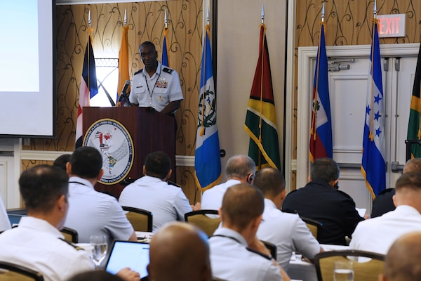 Col. Isaac Davidson, Inter-American Air Forces Academy commandant, welcomed foreign mission partners to the 4th annual Western Hemisphere Exchange Symposium May 19 at San Antonio, Texas.