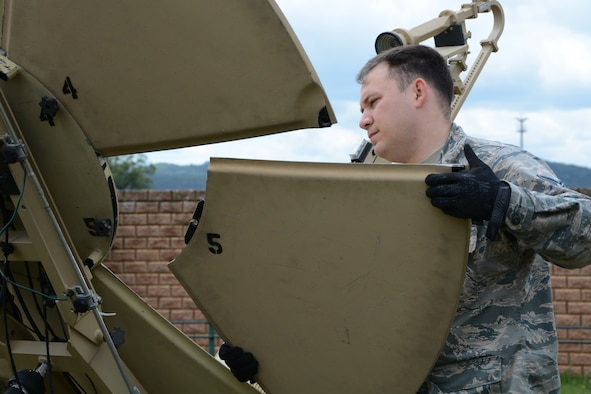 Tech. Sgt. Daniel Johnson, 433th Contingency Response Flight communications specialist, attaches a panel to a Small Package Initial Communications Equipment unit during preparation for exercise Swift Response, June 8, 2019, at Ramstein Air Base, Germany.