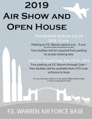 The 2019 Air Show and Open House graphic created July 7, 2019 on F.E. Warren Air Force Base, Wyo., to notify public of changes for the upcoming events. For the first time in 25 years, the U.S. Air Force Thunderbirds are returning to the skies over F.E. Warren, Air Force Base. (U.S. Air Force graphic by Senior Airman Abbigayle Williams)