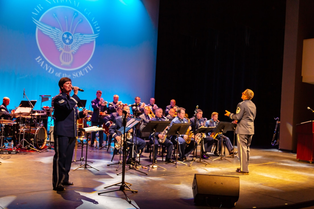 Technical Sergeant Michelle Hoffman nails a performance with Blue Groove, the Air National Guard Band of the South jazz ensemble.