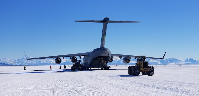 A Team McChord C17 is unloaded at McMurdo Station, Antarctica.