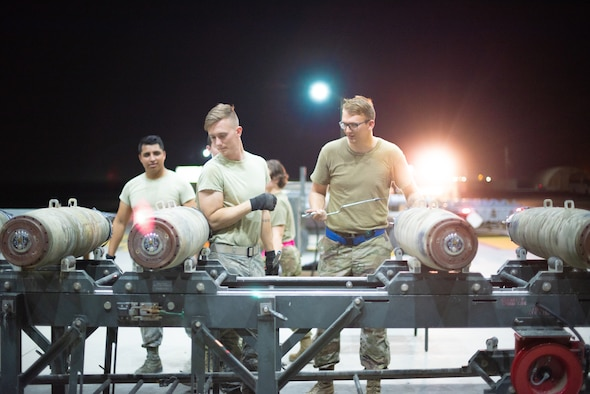 Airmen of the 380th Expeditionary Maintenance Squadron build six GBU-38s June 21, 2019, at Al Dhafra Air Base, United Arab Emirates.