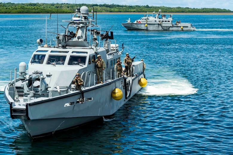 COLONIA, Yap (July 3, 2019) Mark VI patrol boats, assigned to Coastal Riverine Squadron (CRS) 2, Coastal Riverine Group 1, Det. Guam, arrive to Colonia, Yap. CRG 1, Det. Guam's visit to Yap, and engagement with the People of Federated States of Micronesia underscores the U.S. Navy's commitment to partners in the region. The Mark VI patrol boat is an integral part of the expeditionary forces support to 7th Fleet, capability of supporting myriad of missions throughout the Indo-Pacific.