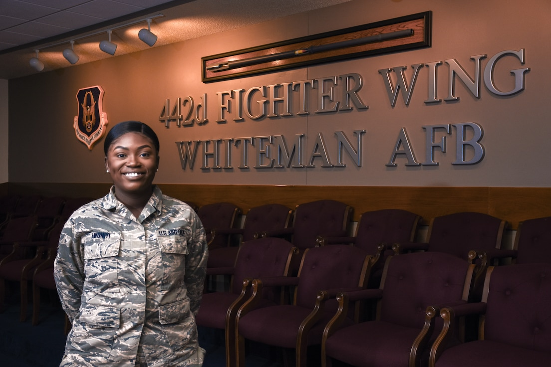 U.S. Air Force Senior Airman Tabitha Awoniyi, a personnel specialist with the 442d Military Personnel Flight, poses for a portrait at Whiteman Air Force Base, Mo., June 24, 2019. Awoniyi currently studies broadcast journalism at the University of Missouri in Columbia, Mo., while serving in the Air Force Reserve. (U.S. Air Force photo by Clarence Valelo)