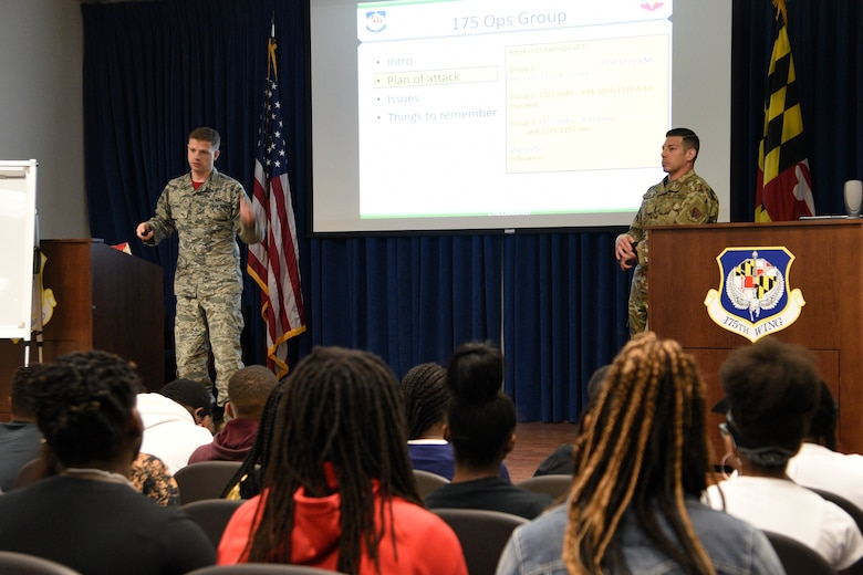Members of the 175th Wing, Maryland Air National Guard, hosted a group students from the Baltimore City Department of Recreation and Parks Science, Technology, Engineering and Math program, July 3, 2019, at Martin State Airport, Middle River, Md. The program is designed to build on the students' interest and knowledge in the STEM arena as they prepare for college or careers after high school. (U.S. Air National Guard photo by Staff Sgt. Enjoli Saunders)
