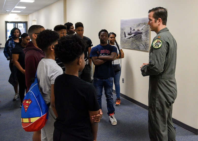 Members of the 175th Wing, Maryland Air National Guard, hosted a group students from the Baltimore City Department of Recreation and Parks Science, Technology, Engineering and Math program, July 3, 2019, at Martin State Airport, Middle River, Md. Students from schools across Baltimore City had the opportunity to ask questions and interact with personnel from the 104th Fighter Squadron, 175th Aircraft Maintenance Squadron and 135th Intelligence Squadron. (U.S. Air National Guard photo by Staff Sgt. Enjoli Saunders)