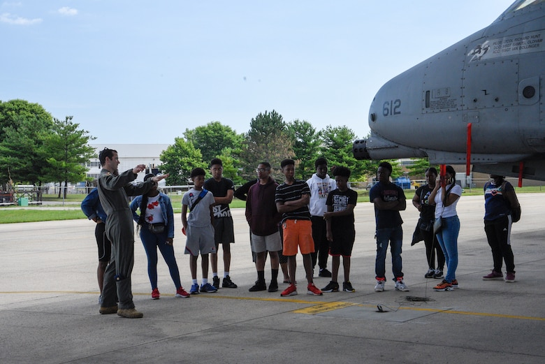 Members of the 175th Wing, Maryland Air National Guard, hosted a group students from the Baltimore City Department of Recreation and Parks Science, Technology, Engineering and Math program, July 3, 2019, at Martin State Airport, Middle River, Md. The students, ranging from 9th – 12th grade, were introduced to the A-10C Thunderbolt II aircraft and simulator as well as Electro-Optical and Infrared (EOIR) sensors. (U.S. Air National Guard photo by Staff Sgt. Enjoli Saunders)