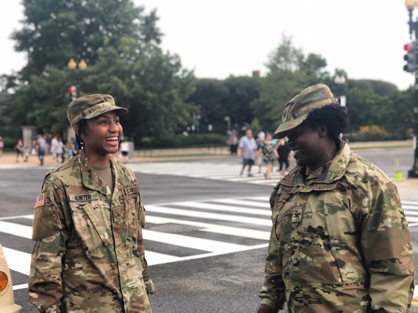Col. Renee Gore, Joint Task Force Independence commander, District of Columbia National Guard, speaks to a Soldier during the Independence Day celebration July 4th in Washington D.C. Approximately 800 D.C. National Guard members provided support to the D.C. Metropolitan Police and United States Park Police during the Independence Day celebration.