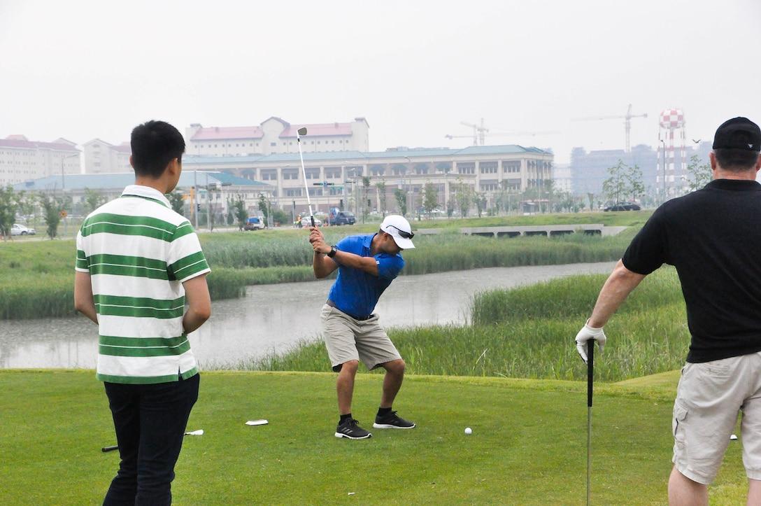U.S. Army Corps of Engineers, Far East District personnel participate in the district's Bi-Annual Golf Tournament at the River Bend Golf Course, Camp Humphreys, South Korea, June 26.