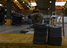 Body armor plates rest on a cart while a 39th Logistic Readiness Squadron Airman inventories a mobility bag June 25, 2019, at Incirlik Air Base, Turkey. The plates are one of the various posture equipment used to enhance Airmen's protective measures. (U.S. Air Force photo by Staff Sgt. Matthew J. Wisher)