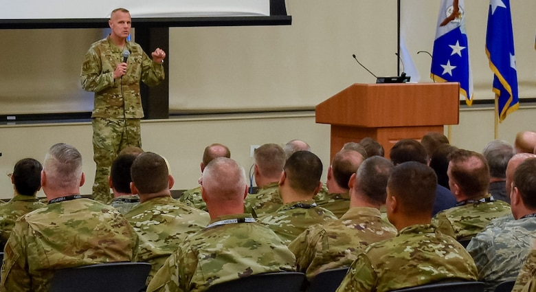 Air Force Installation and Mission Support Center commander, Maj. Gen. Brad Spacy, addresses attendees at the out brief at this year's Installation and Mission Support Weapons and Tactics Conference held at Joint Base San Antonio-Lackland, Texas, April 10, 2019. Hosted by the Air Force Installation and Mission Support Center, I-WEPTAC provides the only Air Force innovation forum for the installation and mission support communities. (U.S. Air Force photo by Armando Perez)