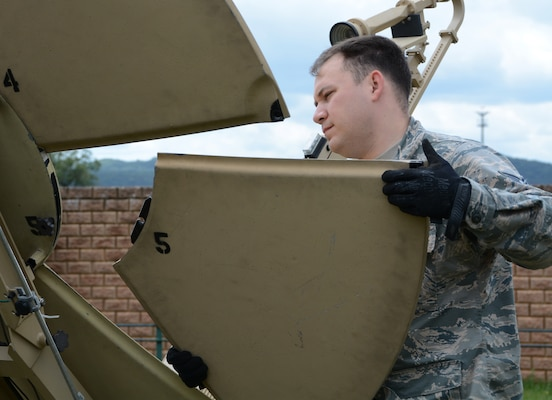 Tech. Sgt. Daniel Johnson, 433th Contingency Response Flight communications specialist, attaches a panel to a Small Package Initial Communications Equipment unit during preparation for exercise Swift Response, June 8, 2019, at Ramstein Air Base, Germany. Exercises like these help prepare our Airmen for potential contingency scenarios. U.S. forces are engaged, postured and ready with credible forces to assure, deter and defend in an increasingly complex security environment.