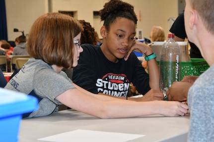 IMAGE: KING GEORGE. Va. (June 26, 2019) – Middle school students prepare for an aerospace engineering rocketry activity at the 2019 Naval Surface Warfare Center Dahlgren Division (NSWCDD) science, technology, engineering, and mathematics (STEM) Summer Academy, held June 24-28. They were among 70 middle school students who constructed and calibrated their water rockets while discovering the optimal amount of fuel (water) to launch a ball the highest. The STEM Summer 'campers' worked in teams to organize and analyze their data in order to determine what fuel volume will result in the highest launch.