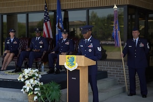 U.S Air Force Tech. Sgt. Marcus Jackson, 334th Training Squadron instructor, speaks during the 81st Training Group change of command ceremony at the Levitow Training Support Facility drill pad on Keesler Air Force Base, Mississippi, July 1, 2019. The ceremony is a symbol of command being exchanged from one commander to the next by the handing-off of a ceremonial guidon. (U.S. Air Force photo by Airman 1st Class Kimberly L. Mueller)