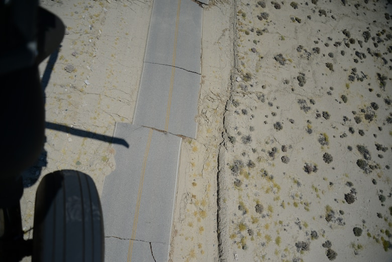 A portion of Highway 178 near Ridgecrest is damaged following two earthquakes July 4 and 5, as seen from a Blackhawk helicopter. (Photo courtesy of USGS)