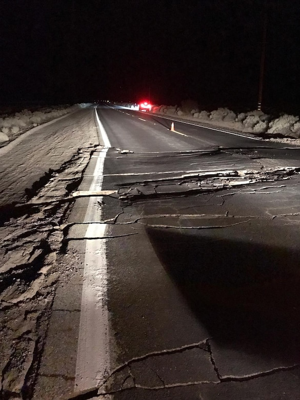 A portion of Highway 178 near Ridgecrest is closed due to crevices on the road following two earthquakes July 4 and 5. (Photo courtesy of USGS)