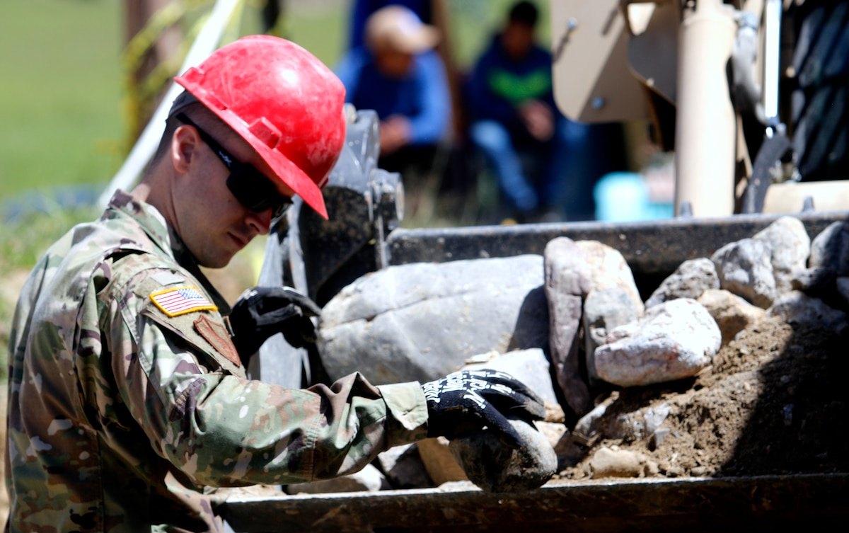 Task Force Rise Soldiers Construct a Rock Barrier in Guatemala