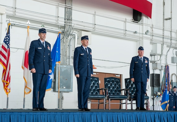 The 18th Wing conducts a change of command ceremony July 8, 2019, at Kadena Air Base, Japan.