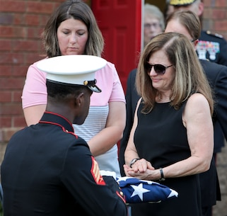 Several active-duty and retired Marines, and even Vietnam veterans were among the many service members who paid their respects to a Southwest Georgia World War II veteran, July 2. 95-year-old Sgt. John Eldridge Belk passed away on June 28, and was recently laid to rest at St. Patrick's Episcopal Church. (U.S. Marine Corps photo by Re-Essa Buckels)