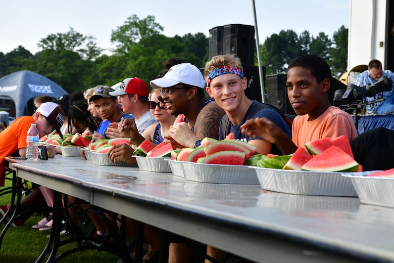 TLR members prepare for a watermelon-eating contest during Liberty Fest.