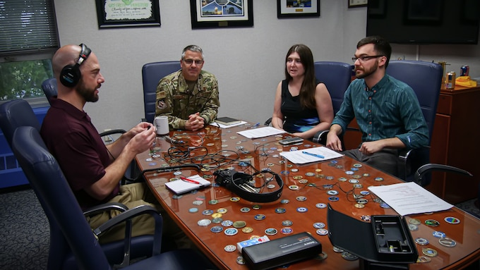 Maj. Gen. William Cooley speaks with the Air Force Research Laboratory podcast team during his appearance on the Lab Life podcast. Lab Life features behind the scenes interviews with science and technology experts across the lab who are developing next generation science and technology for the Air Force.