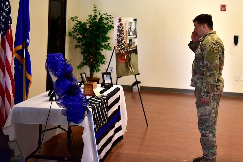 Staff Sgt. Zachary McDaniel, 11th Security Support Squadron military working dog handler, salutes a memorial made for canine, Tommy, during a memorial service at the Community Commons on Joint Base Andrews, Md., July 3, 2019. McDaniel and Tommy served together for two years and went on one deployment. (U.S. Air Force photo by Airman 1st Class Noah Sudolcan)