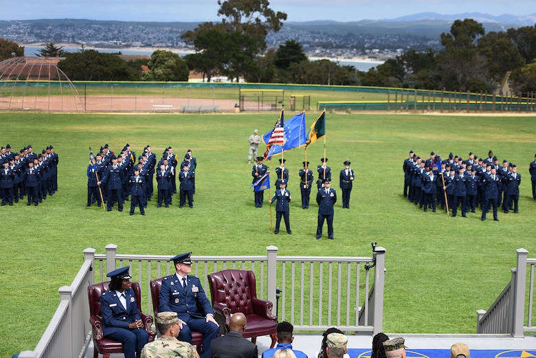 Airmen from the 311th Training Squadron stand in formation on Soldier Field at the Presidio of Monterey, California, during the change of command, July 8, 2019. The 311th TRS develops world class language enabled warrior Airmen in Support of the 17th Training Wing's mission. (Courtesy Photo)